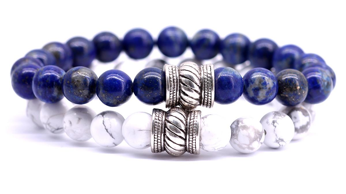 Lapis Lazuli and white howlite bracelet set, bali front image.