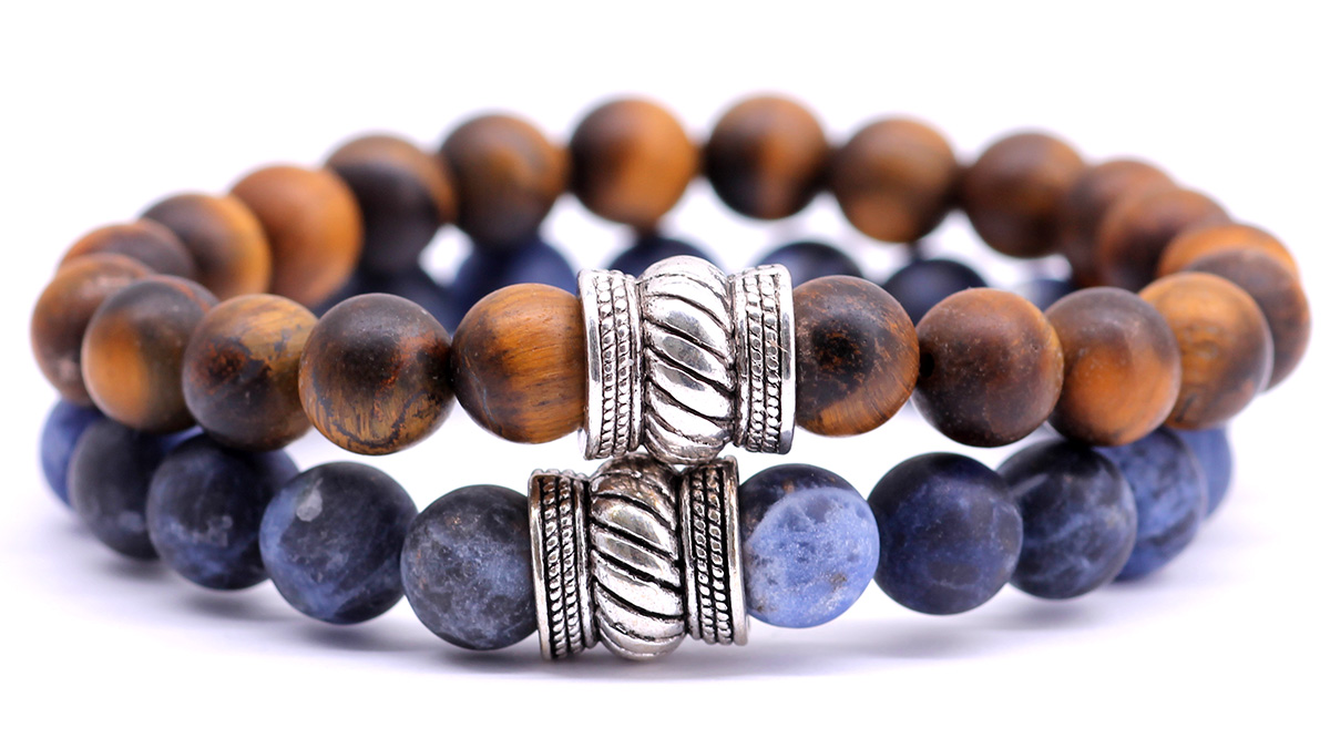 Mat Brown Tiger Eye x sodalite mat set bali bracelets front image