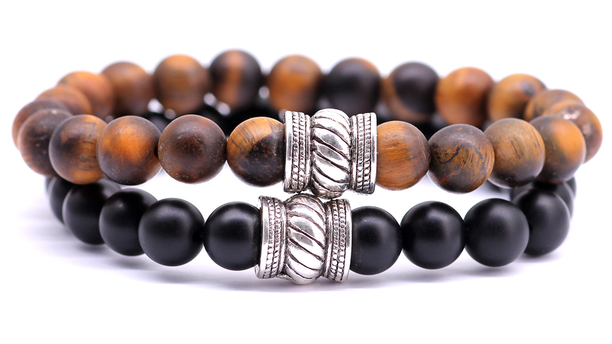 Black onyx x brown tiger eye mat bali bracelet set front image