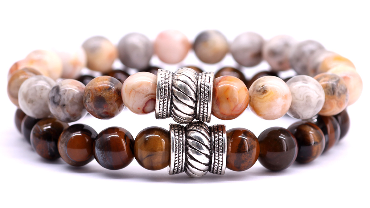 FortunaBeads Bali Crazy agate x brown tiger eye bracelet set front
