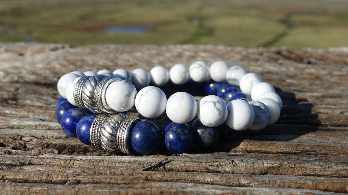 Lapis Lazuli and white howlite bracelet set, bali setting