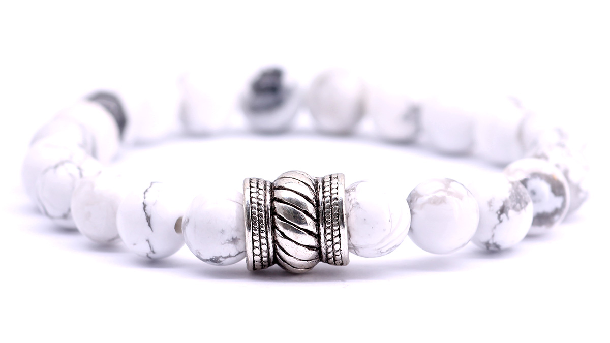 White Howlite bracelet bali front image