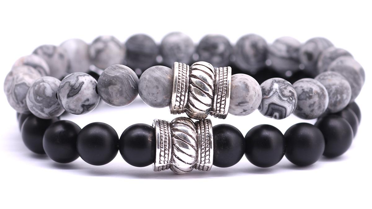 Netstone Jasper x black onyx bali bracelet set