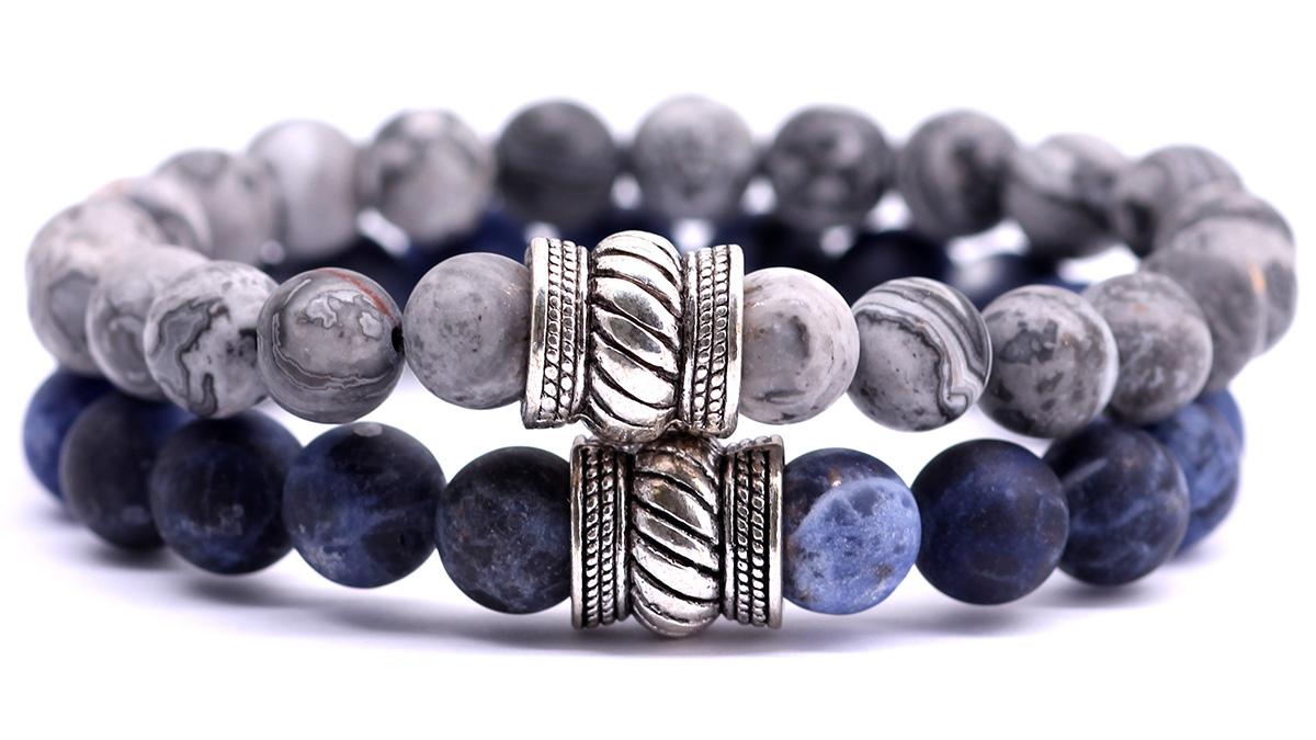 netstone jasper and blue sodalite bali bracelet set.