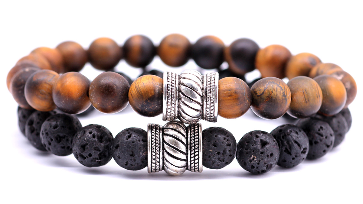 Brown tiger eye and lava stone bracelet set bali collection